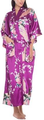 Cckuu Women Bridal Night Robe Elegant Lounge Sleepwear Peacock Kimono Bath GownsLight BlueM