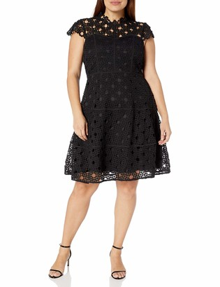 City Chic Women's Apparel Women's Plus Size A line Dress with lace Overlay Detail
