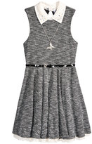 Beautees Lace Collar Dress and Necklace Set, Big Girls (7-16)