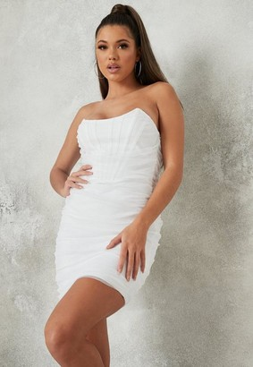 Missguided Petite White Mesh Organza Bandeau Bandage Mini Dress