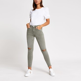 River Island Womens Khaki ripped Amelie super skinny jeans