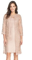Adrianna Papell Embroidered Lace Illusion Yoke Sheath Dress & Topper (Regular & Petite)