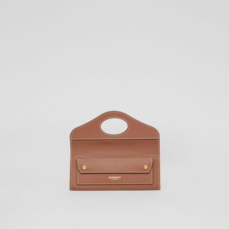 Burberry Mini Topstitched Lambskin Pocket Clutch
