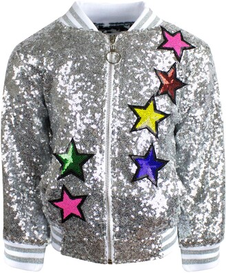 Lola & the Boys Unicorn Sequin Bomber Jacket