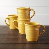 Crate & Barrel Set of 4 Farmhouse Yellow Mugs