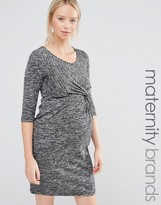 Mama Licious Mama.licious Mamalicious Ruched Front 3/4 Sleeve Jersey Marl Dress