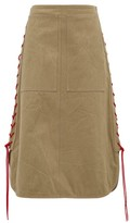 BEIGE Colville - Lace-up Cotton-twill Midi Skirt - Womens