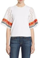 Tory Burch Jillian Embroidered Eyelet-Sleeve Top