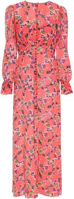 Saloni Becky Paneled Floral-print Silk Maxi Dress