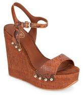 Ash Biba Snake-Embossed Leather & Cork Platform Wedge Sandals