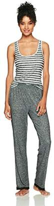 Selene Women's Knit Racerback Tank and Pant Pajama Set Black Stripe + Black Solid