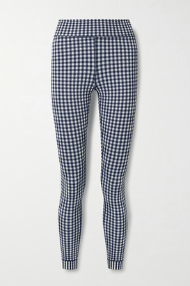 The Upside Masilda Gingham Stretch-seersucker Leggings - Blue