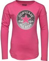 Converse Girls Long Sleeve Drop Shoulder T-Shirt Mod Pink