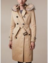 Burberry Fur-trimmed Hood Trench Coat with Warmer