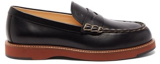 Tod's Topstitched Leather Loafers - Black