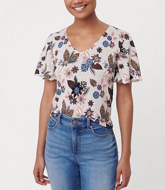 LOFT Floral Flutter Sleeve Sweater Tee