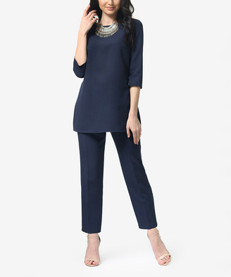 Anette Women's Casual Pants Navy - Navy Three-Quarter Sleeve Tunic & Straight-Leg Pants - Women & Plus