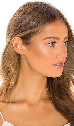 Ef Collection Diamond Bar Stud Earring & Mini Huggie Earring