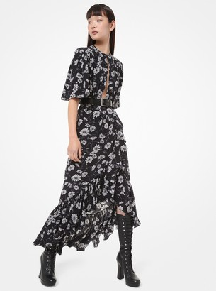 Michael Kors Daisy Silk Crepe De Chine Cutout Wrap Dress