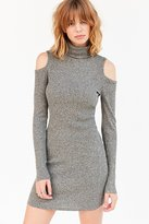 Silence & Noise Silence + Noise Cold Shoulder Turtleneck Bodycon Mini Dress