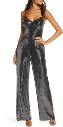 Eliza J Sparkle V-Neck Sleeveless Jumpsuit