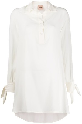 Nude High-Low Hem Shirt