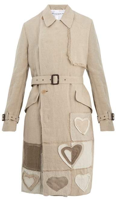 Jw Anderson - Patchwork Double Breasted Linen Trench Coat - Mens - Beige