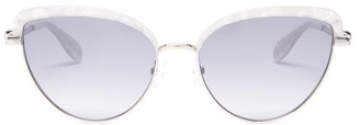 Alexander McQueen Cat-eye Marbled-acetate And Metal Sunglasses - White Multi