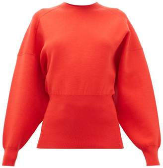 Acne Studios Kaphne Blouson-sleeve Slim-fit Sweater - Womens - Red