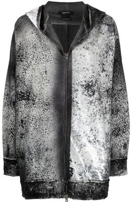 Avant Toi Sequin-Embellished Distressed Hoodie