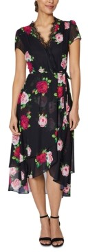 Betsey Johnson Petite Floral-Print Wrap Dress