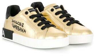 Dolce & Gabbana Kids Portofino laminated logo sneakers