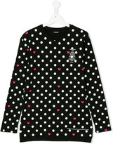 Diesel polka dot heart print top - kids - Cotton - 14 yrs