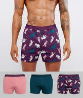 Asos Jersey Boxers With Dino Print 3 Pack SAVE