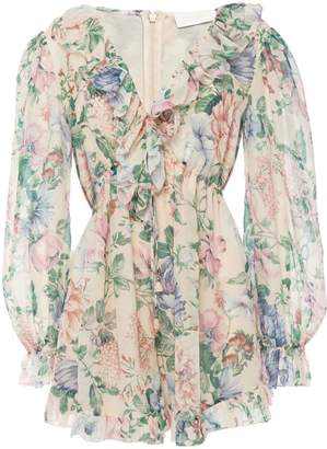 Zimmermann Verity Ruffle-trimmed Floral-print Cotton And Silk-blend Chiffon Playsuit