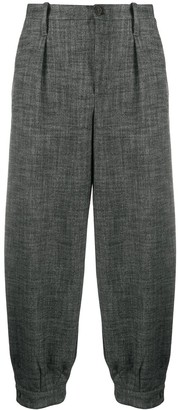 Semi-Couture Cropped Loose-Fit Trousers