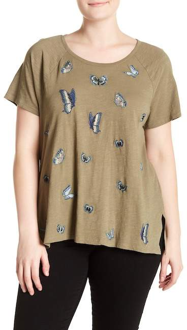 Lucky Brand Butterfly Embroidery Tee (Plus Size)