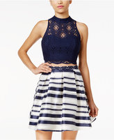 Sequin Hearts Juniors' 2-Pc. Cutout-Back Lace Striped Dress