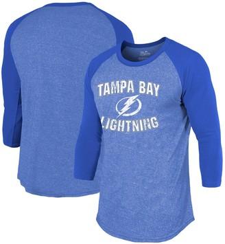 Majestic Tampa Bay Lightning Threads Team Favorite 3/4-Sleeve Tri-Blend T-Shirt - Blue