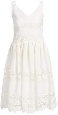 Dolce & Gabbana Women's Poplin Lace Tiered A-Line Dress
