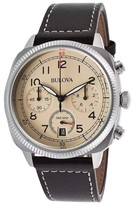 Bulova Military 96B231 Beige Dial Leather Strap Chronograph Men