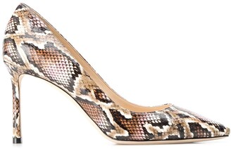 Jimmy Choo Romy 85mm snakeskin-effect pumps