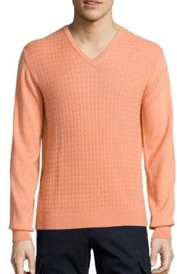 Saks Fifth Avenue COLLECTION Jacquard V-Neck Wool & Silk Sweater