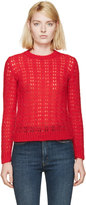 Saint Laurent Red Mohair Crystal Sweater