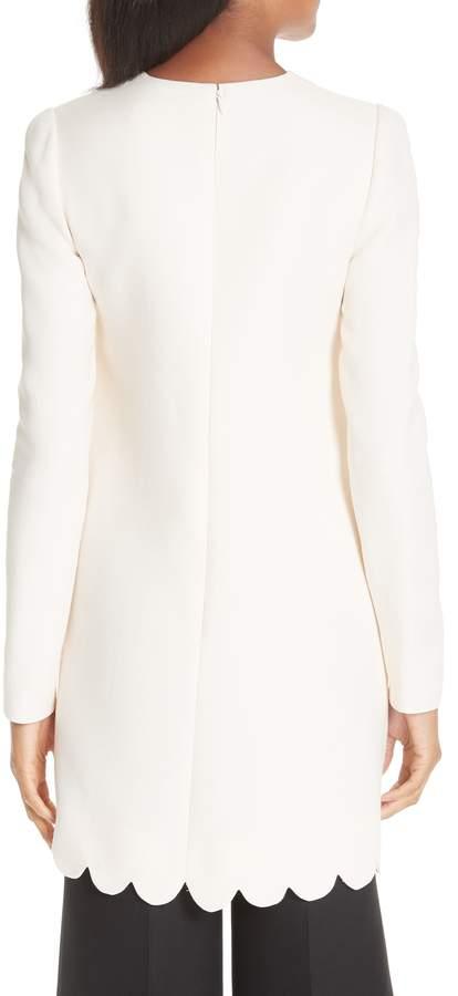 Valentino Scallop Detail Wool & Silk Top