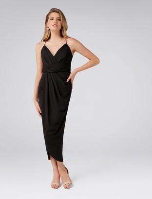Forever New Charlotte Petite Drape Maxi Dress - Black - 10