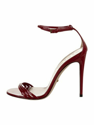 Gucci Ilse Patent Leather Sandals Red
