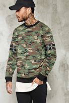 Forever 21 Stripe-Sleeve Camo Sweatshirt