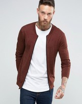 Asos Knitted Cotton Bomber Jacket in Muscle Fit