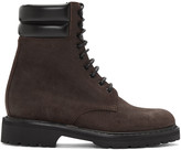 Saint Laurent Brown Suede High Army Boots